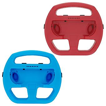 Steering wheel grip attachement for nintendo switch joy-con controllers - 2 pack red & blue