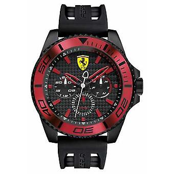 Scuderia Ferrari Mens Black Rubber Strap Black Dial Red Detail 0830310 Watch