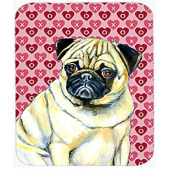 Pug Hearts Love and Valentine's Day Portrait Mouse Pad, Hot Pad or Trivet