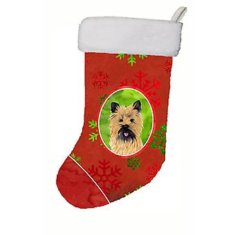 Cairn Terrier Red and Green Snowflakes Holiday  Christmas Stocking
