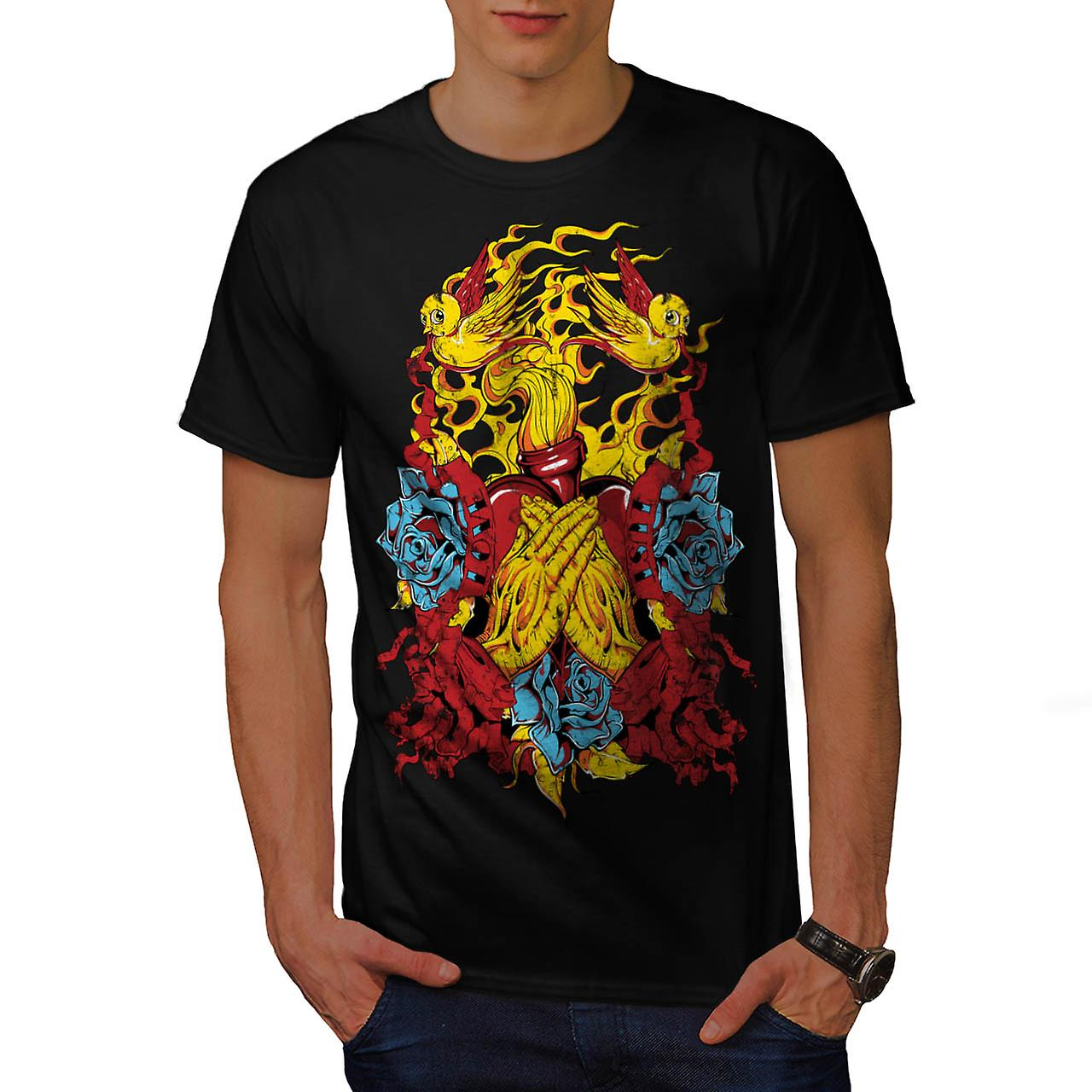 Heart Beats Prayer Love Fire USA Men Black T-shirt | Wellcoda