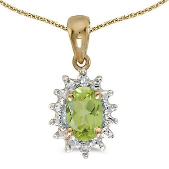 10k Yellow Gold Oval Peridot And Diamond Pendant with 16