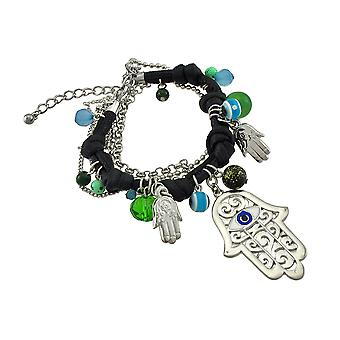 Knotted Leather Cord Hamsa Bead Bracelet