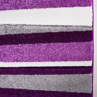 Purple & Grey Striped Living Room Rug - Rio