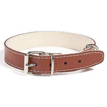 Doggy Things Plain Leather Dog Collar Brown 50cm