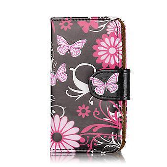 Design Buch Brieftasche Case Cover für Samsung Galaxy S5 Mini SM-G800 - Gerbera