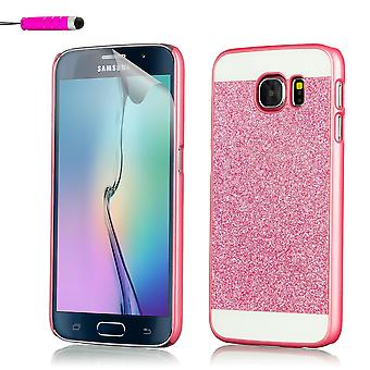 Glitzer Case + Stift für Samsung Galaxy S7 Rand SM-G935 - Hot Pink