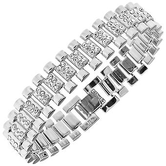 Iced out hip hop bling bracelet - cubic zirconia LINK 15mm silver