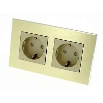 I LumoS Luxury Gold Brushed Aluminium Frame 16A Schuko Double Socket UK & EU Standard