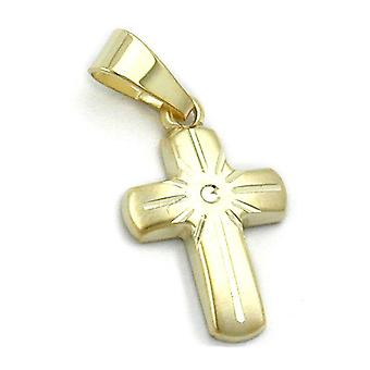 Mini crosses gold 375 pendant, small cross, matt, 9 KT GOLD