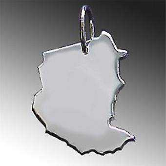 Trailer map SUDAN pendant in solid 925 Silver