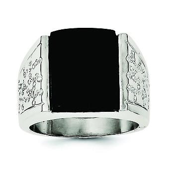 Sterling Silver Solid Textured Polished Open back Simulated Onyx Mens Ring - Ring Size: 9 to 11