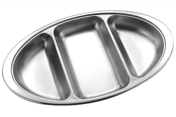 14 INCH 3 DIVISION VEGETABLE DISH STAINLESS STEEL SERVING DISH OVAL PLATTER