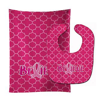 Breast Cancer Awareness Ribbon Believe Baby Bib & Burp Cloth