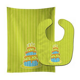 Каролинских сокровища BB8916STBU морских Bithday торт ребенок нагрудник & Берп Ткань