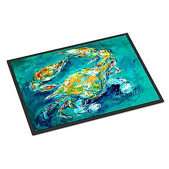 By Chance Crab in Aqua blue Indoor or Outdoor Mat 24x36