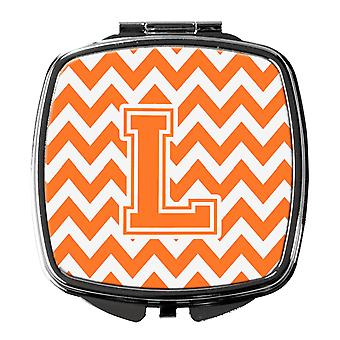 Letter L Chevron Orange and White Compact Mirror