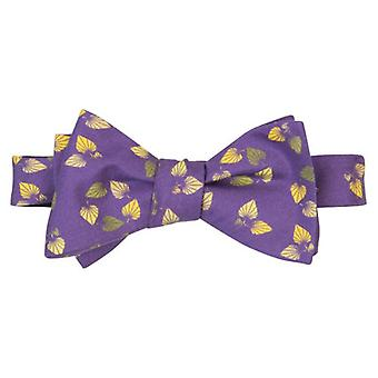 40 Colori Birch Printed Silk Butterfly Bow Tie - Purple