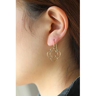 14k Yellow Gold Double Quatrefoil Drop Earring with Fish Hook in Gift Box
