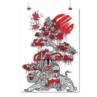 Matte or Glossy Poster with Japanese Knight Fantasy | Wellcoda | *d1280