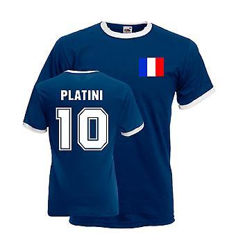 Michel Platini France Ringer Tee (dark Blue)