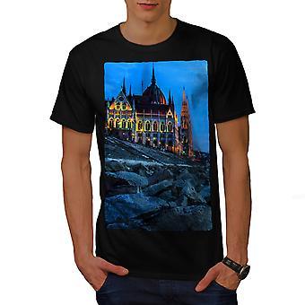 Budapest Castle Dark City Men BlackT-shirt | Wellcoda