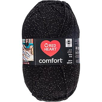 Red Heart Comfort Yarn-Black & Gold Shimmer E707D-5008