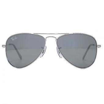 Ray-Ban Junior Aviator Sunglasses In Shiny Silver Mirror