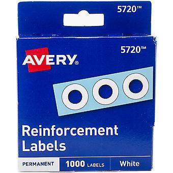 Avery White Self-Adhesive Reinforcement Labels 1000/Pkg-.25