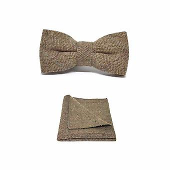 Luxury Herringbone Brown Tweed Men's Bow Tie & Pocket Square Set