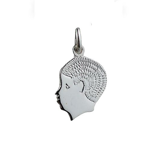 Silver 17x14mm Boy's Head Pendant or Charm