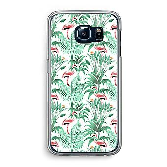 Samsung Galaxy S6 transparentes Gehäuse (Soft) - Flamingo Blätter