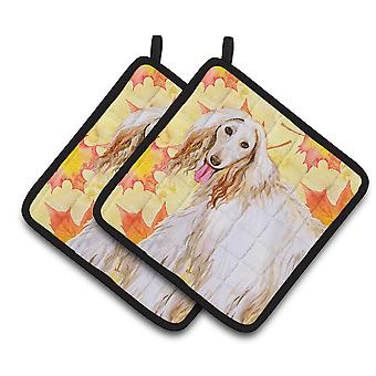 Carolines Treasures  BB9963PTHD Afghan Hound Fall Pair of Pot Holders