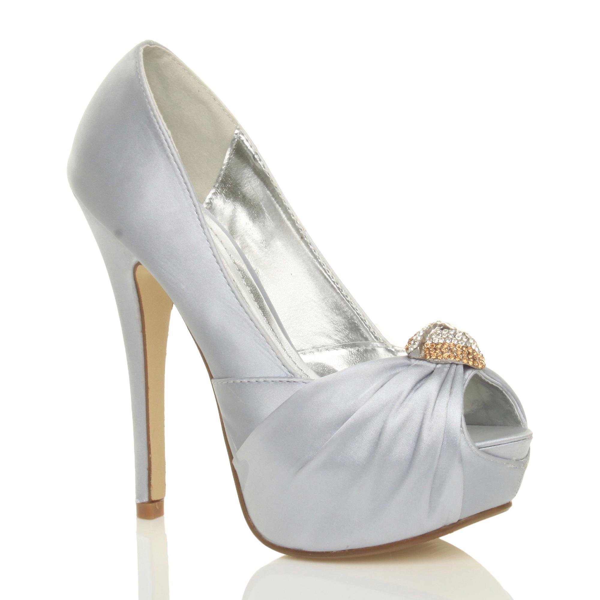 Ajvani Damen high Heels Braut Hochzeit Prom Peep Toe Gericht Schuhe Plateau-Sandaletten