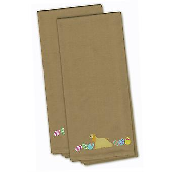Cocker Spaniel Easter Tan Embroidered Kitchen Towel Set of 2