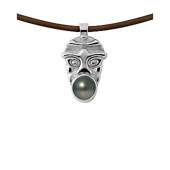 Tribal Mann Leder Halskette, Perle von Tahiti und Silber 925