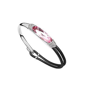 Armband Leder und geschmückt mit Kristall von Swarovski Elementen Rose