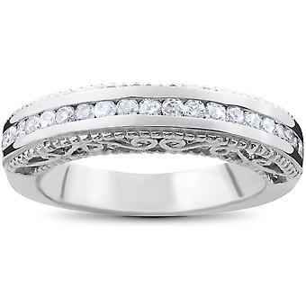 1 / 2ct Vintage Erbstück Diamant Ehering 14K Weißgold
