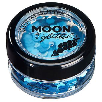 Holographic Chunky Glitter by Moon Glitter – 100% Cosmetic Glitter for Face, Body, Nails, Hair and Lips - 3g - Blue
