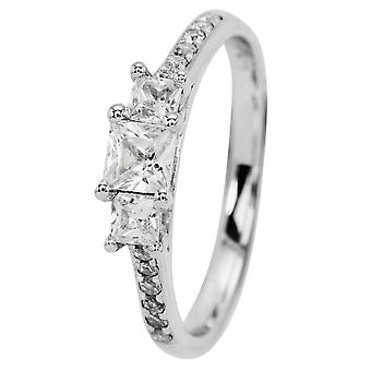 Burgmeister women's ring JBM2010-111, 925 sterling silver rhodanized, white zirconia