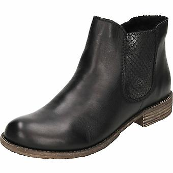 Rieker Black Leather Chelsea Flat Ankle Boots 74786-00