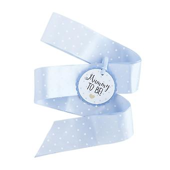 Oh Baby Mummy to be Ribbon Sash BLUE with white dots Baby Shower