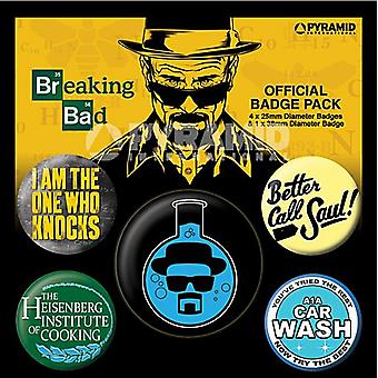 Breaking Bad Heisenburg 5 runde Pin merker i Pack