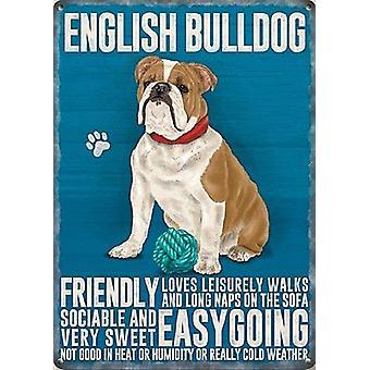 Englische Bulldogge kleine Stahl unterzeichnen 200 X 150 Mm