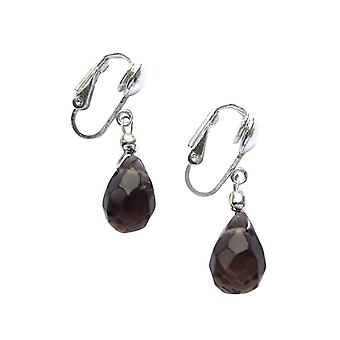 Gemshine - ladies - earrings - earrings - 925 Silver - smoky quartz - dripping - faceted - Brown - 2 cm