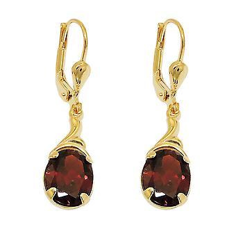 Brisur 30 x 7, 5mm earring Garnet 8Kt GOLD