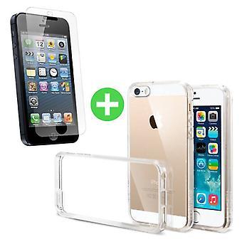 Stuff Certified ® Transparent iPhone 5 TPU Case + Screen Protector Tempered Glass