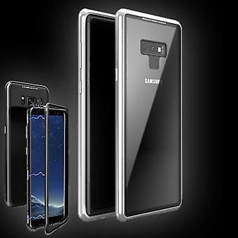 Für Samsung Galaxy Note 9 N960F Magnet / Metall / Glas Case Bumper Silber / Transparent Tasche Hülle Neu