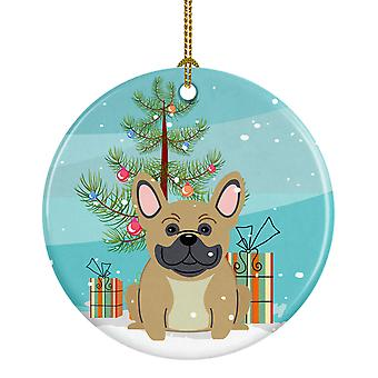 Merry Christmas Tree Franse Bulldog crème keramische Ornament