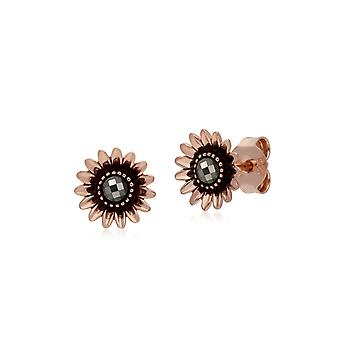 Gemondo Rose Gold Plated Sterling Silver Daisy Marcasite Stud Earrings